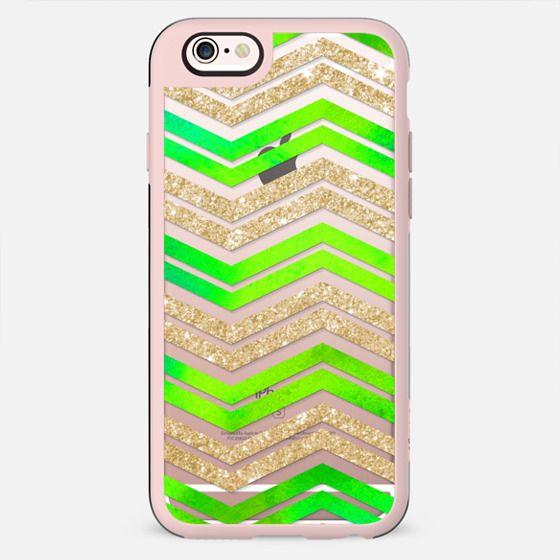 Watercolor Glitter Chevron on Wood 02 - New Standard Case