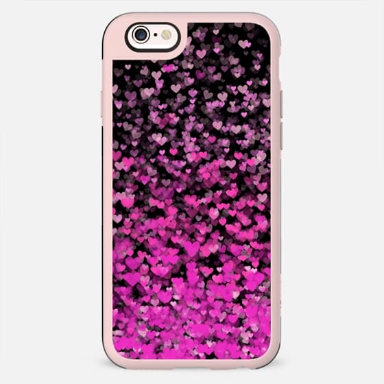 Pink Confetti Hearts on Black - New Standard Case