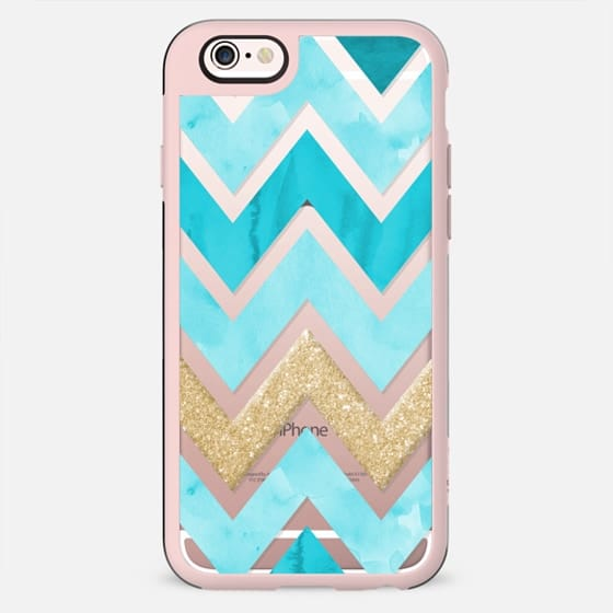 Teal Watercolor and Gold Chevron - New Standard Case