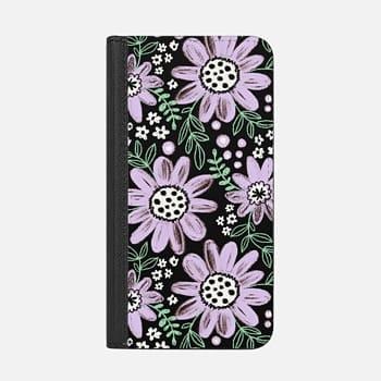 iPhone ウォレットケース -  Chalkboard Floral 2