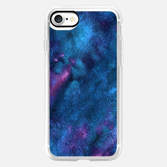 Watercolor galaxy dark blue abstraction -