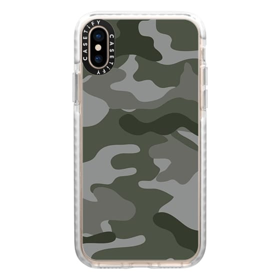 iPhone XS Cases - Camo green grey