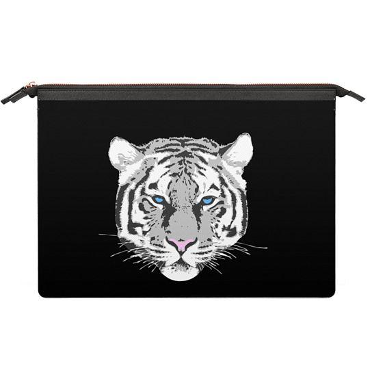 Saffiano Leather Sleeve - White tiger - black