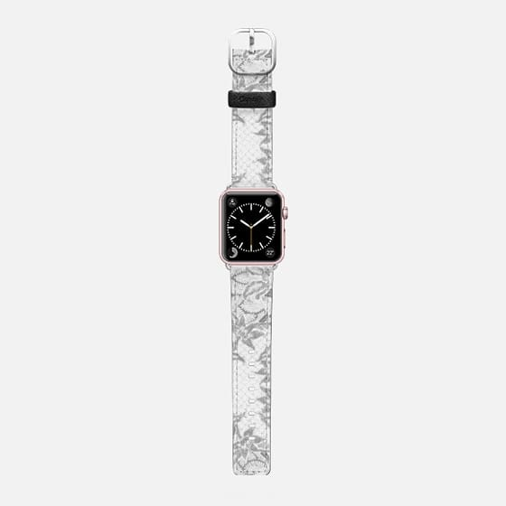 White grey Batik - Saffiano Leather Watch Band