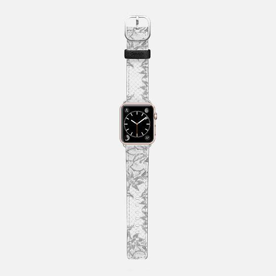 White grey Batik - Saffiano Leather Watch Band