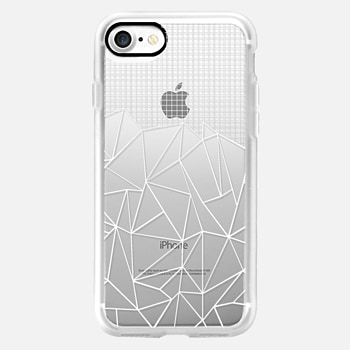 iPhone 7 ケース Abstract Grid Outline White Transparent