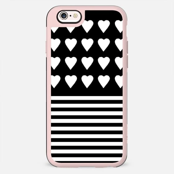 Heart Stripes White on Black -