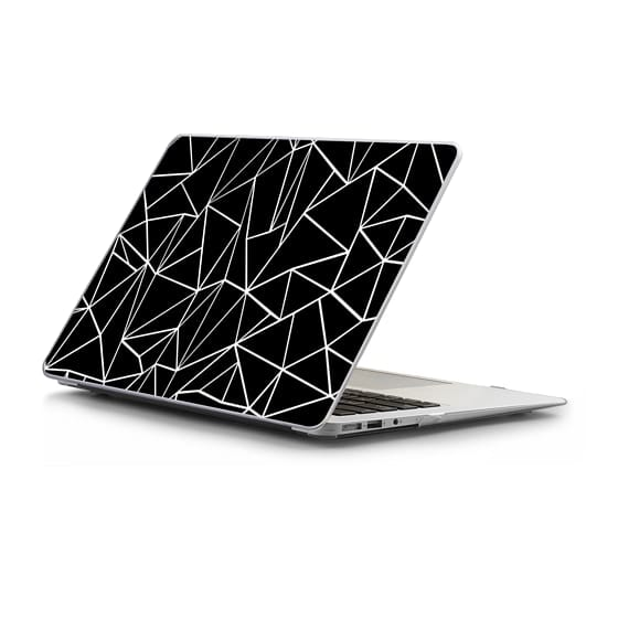 MacBook Air 11 Sleeves - Abstraction Outline White on Black Macbook