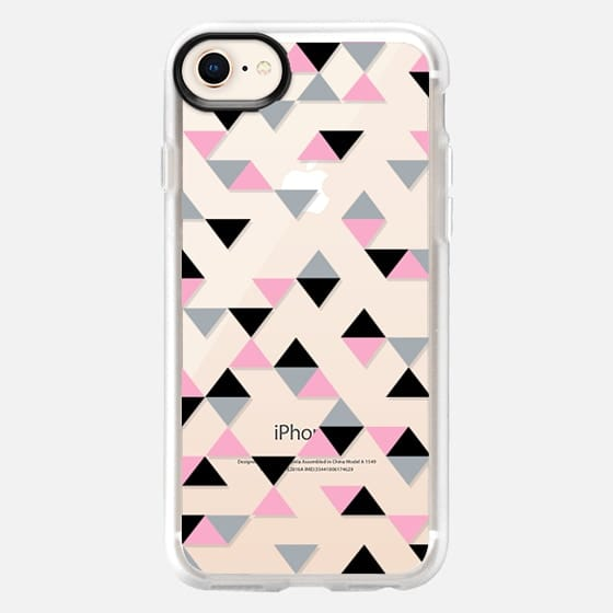 Triangles Black and Pink Transparent - Snap Case