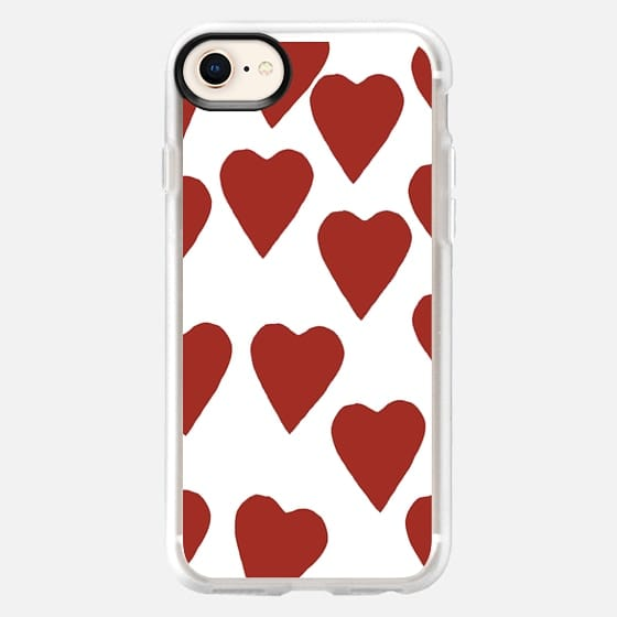 Hearts Red on White - Snap Case