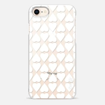 iPhone 8 Case Diamond Hearts White Transparent