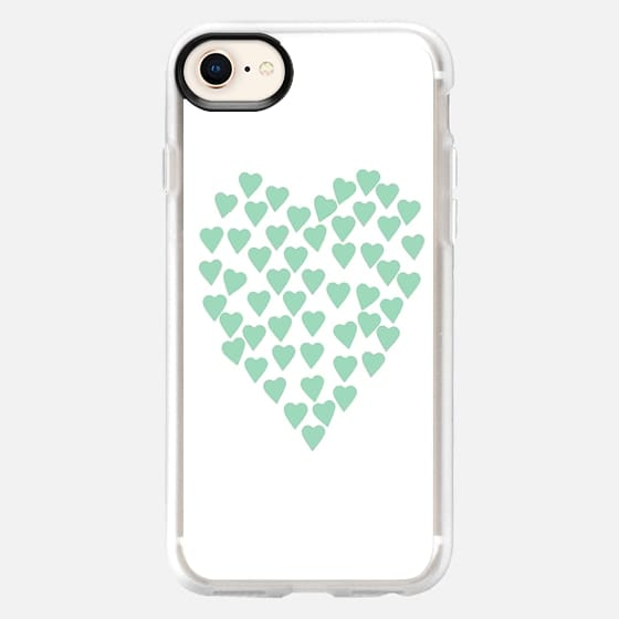 Hearts Heart Mint on White - Snap Case