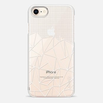 iPhone 8 ケース Abstract Grid Outline White Transparent