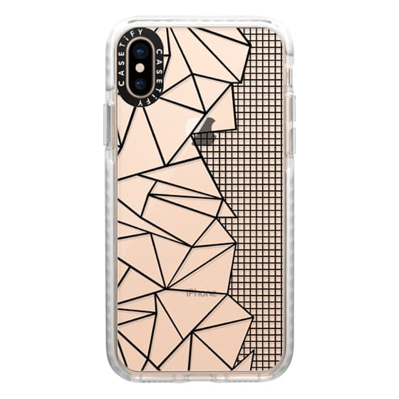 iPhone XS Cases - Ab Outline Grid on Side Black Transparent