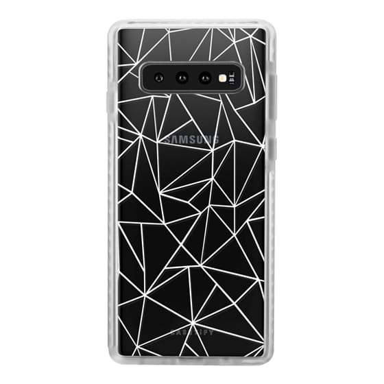 Samsung Galaxy S10 Cases - Abstraction Outline White Transparent