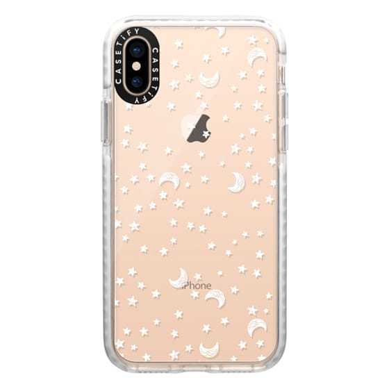 iPhone XS Cases - Cosmic Galaxy White Scribble Moon & Stars