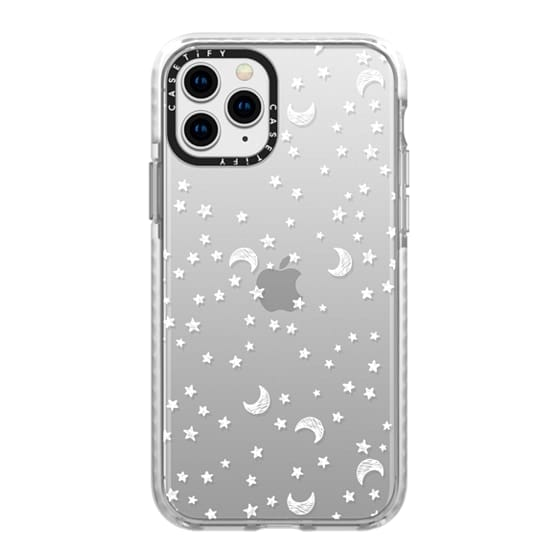 iPhone 11 Pro Cases - Cosmic Galaxy White Scribble Moon & Stars