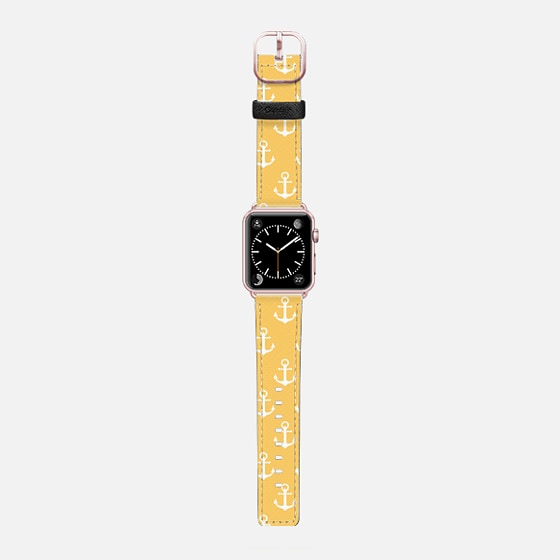 Anchors - Yellow - Saffiano Leather Watch Band