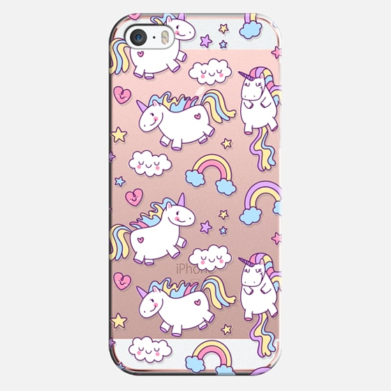 iPhone SE Capa - Unicorns & Rainbows - Clear