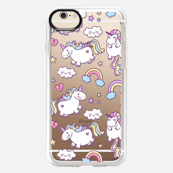 iPhone 6 Capa - Unicorns & Rainbows - Clear