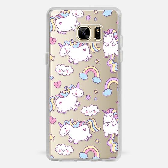Galaxy Note 7 Case - Unicorns & Rainbows - Clear