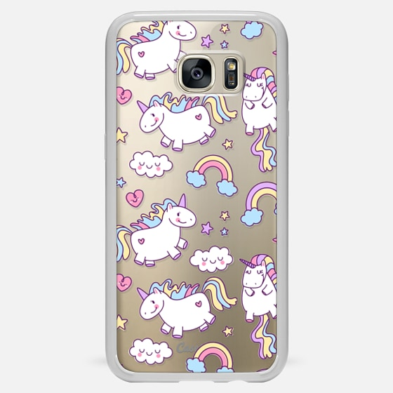 Galaxy S7 Edge Hülle - Unicorns & Rainbows - Clear
