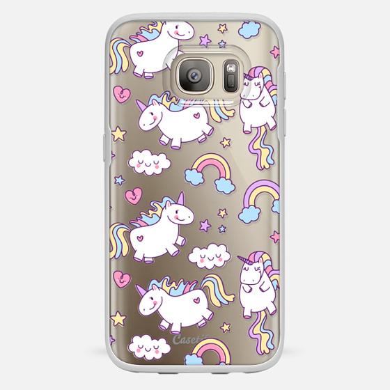 Galaxy S7 Hülle - Unicorns & Rainbows - Clear