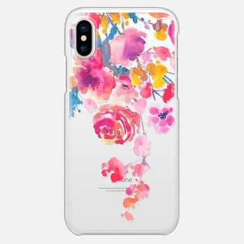 iPhone X Case Pink Confetti Watercolor Floral #2