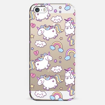 iPhone 5s Case Unicorns & Rainbows - Clear