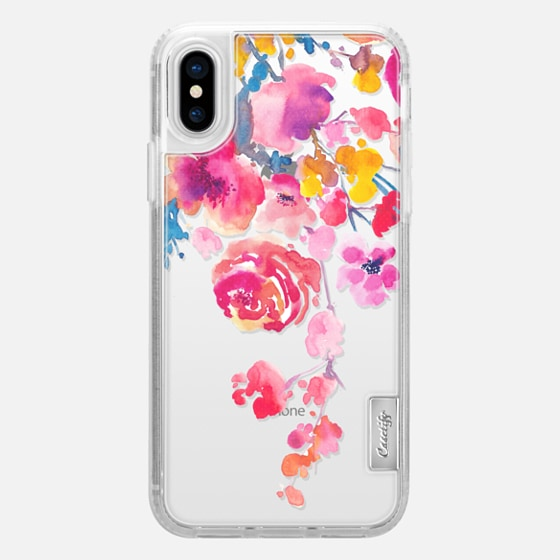 iPhone X Case - Pink Confetti Watercolor Floral #2