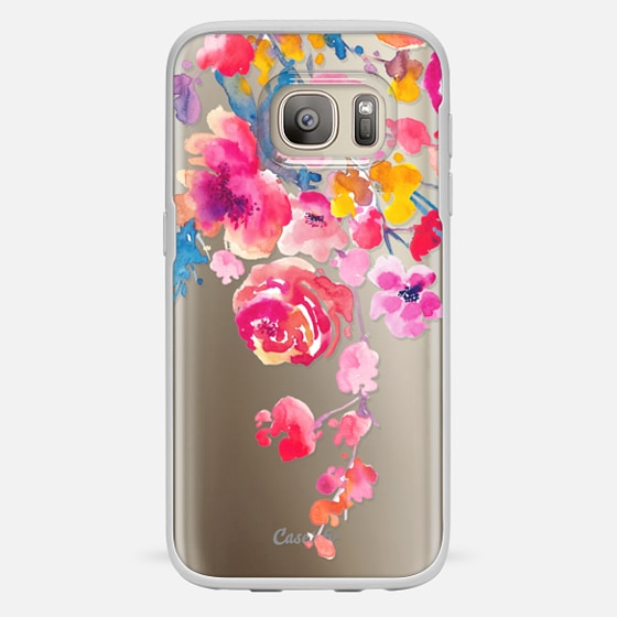 Galaxy S7 Hülle - Pink Confetti Watercolor Floral #2
