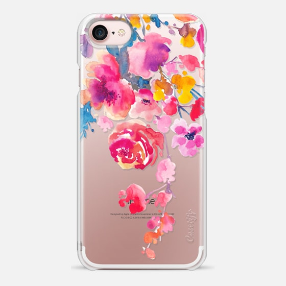 iPhone 7 Coque - Pink Confetti Watercolor Floral #2