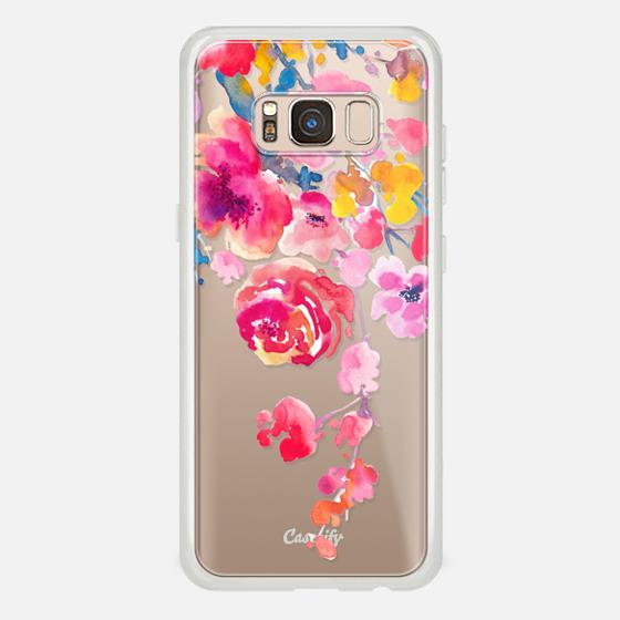 Galaxy S8 Coque - Pink Confetti Watercolor Floral #2