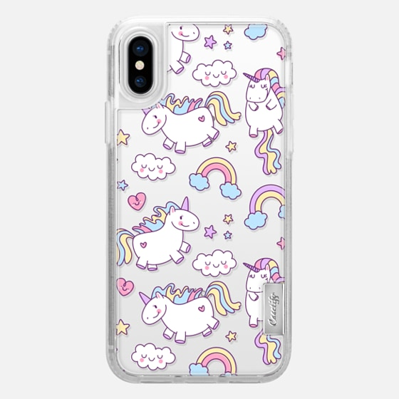 iPhone X Case - Unicorns & Rainbows - Clear