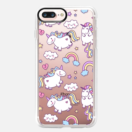 iPhone 7 Plus Case - Unicorns & Rainbows - Clear