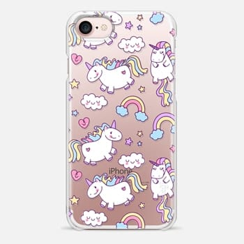 iPhone 7 Case Unicorns & Rainbows - Clear
