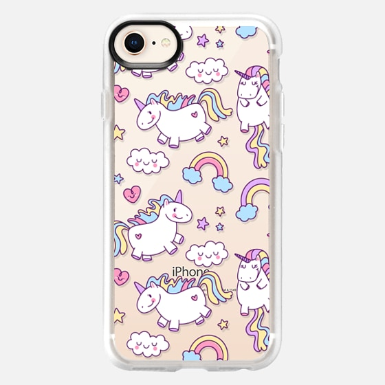 iPhone 8 ケース - Unicorns & Rainbows - Clear