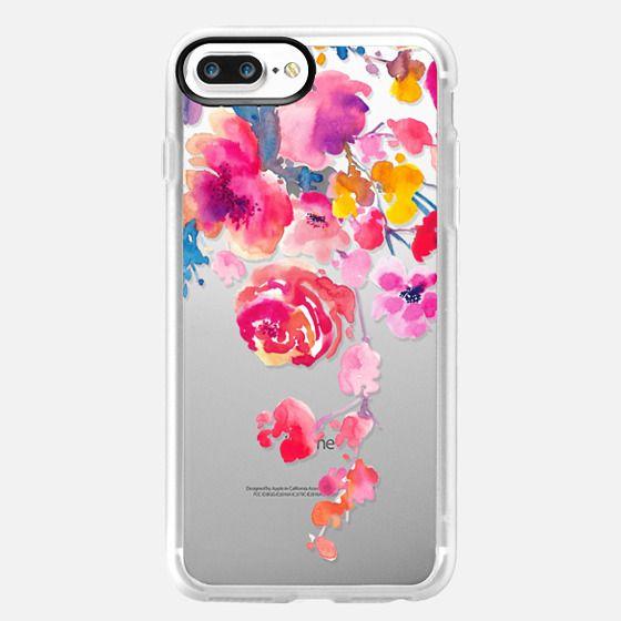 iPhone 7 Plus Hülle - Pink Confetti Watercolor Floral #2