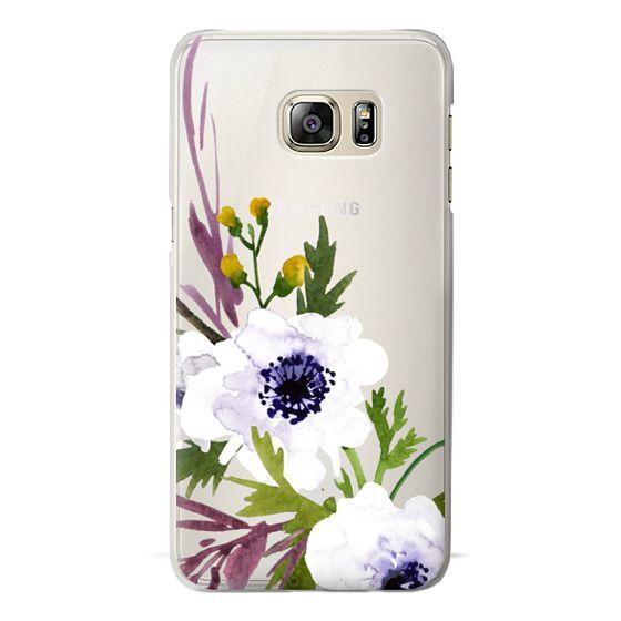 Samsung Galaxy S6 Edge Plus Cases - White & Purple Watercolor Florals #2