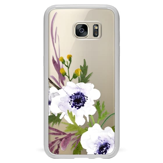 Samsung Galaxy S7 Edge Cases - White & Purple Watercolor Florals #2