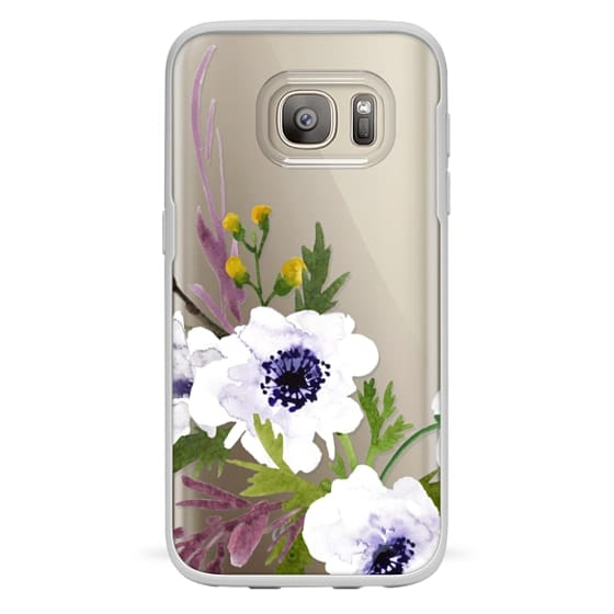 Samsung Galaxy S7 Cases - White & Purple Watercolor Florals #2