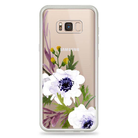 Samsung Galaxy S8 Plus Cases - White & Purple Watercolor Florals #2