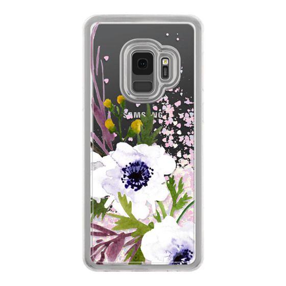 Samsung Galaxy S9 Cases - White & Purple Watercolor Florals #2
