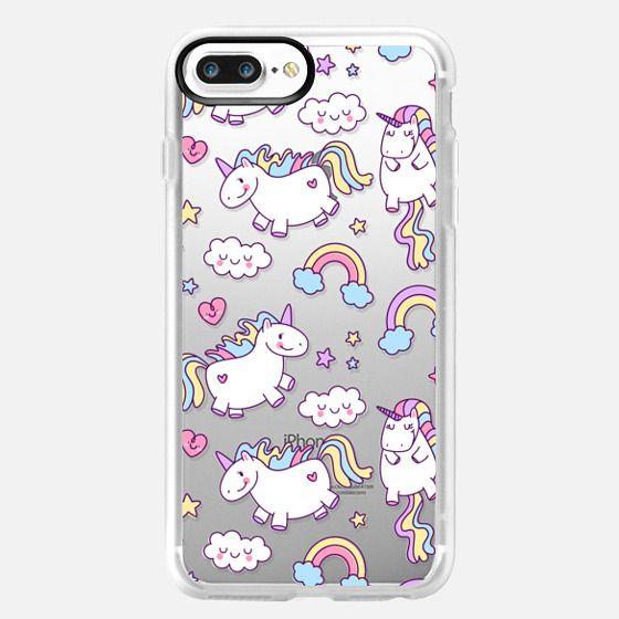 iPhone 7 Plus Hülle - Unicorns & Rainbows - Clear