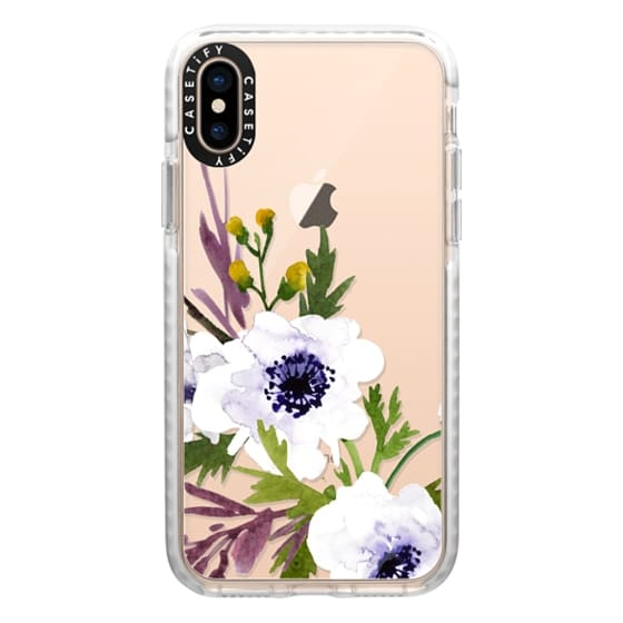 iPhone XS Cases - White & Purple Watercolor Florals #2