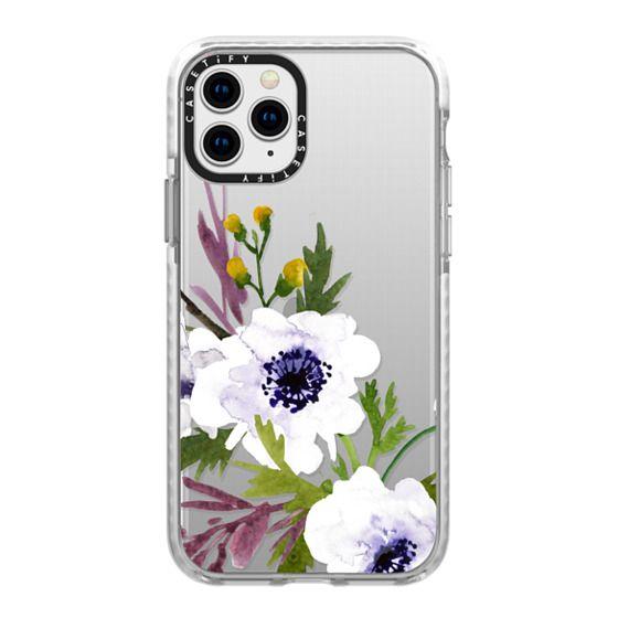 iPhone 11 Pro Cases - White & Purple Watercolor Florals #2