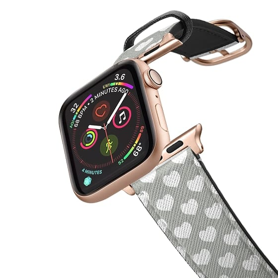 Apple Watch 38mm Bands - Grey and White Hearts - iWatch