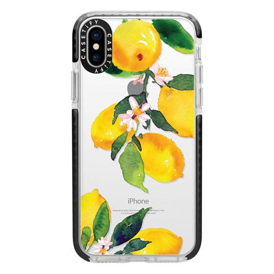 iPhone X Cases - Watercolor Lemon Blossoms