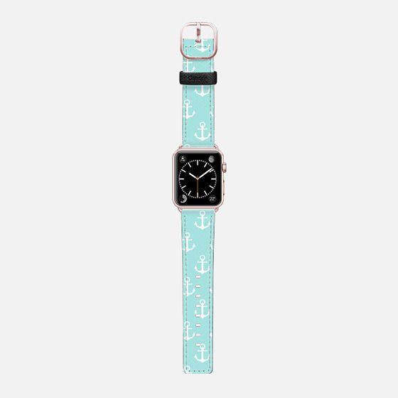 Anchor - Aqua - Saffiano Leather Watch Band