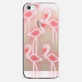 iPhone 5s Case Neon inspired flamingo pattern
